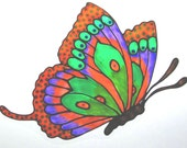 Flying Butterfliy with Tails, Window Cling Suncatcher with Stained Glass Effects, Greens, Oranges, Purple, MADE TO ORDER