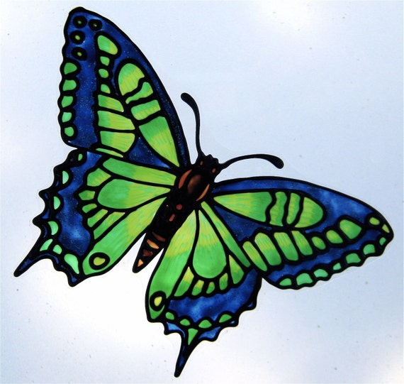 Green And Blue Butterfly With Tails Window Cling Suncatcher