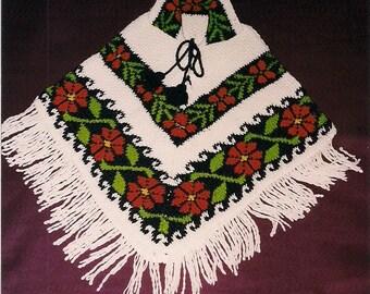 Vintage Handicraft Wool Poncho