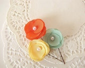 Handmade bobby pins with tiny fabric flower (3 pcs) - GREEN-YELLOW-TANGERINE