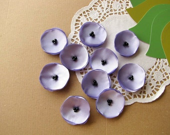 Handmade appliques, satin fabric sew on mini flowers, tiny fabric flowers, flowers for headbands (10pcs)- PERIWINKLE / LAVENDER POPPIES
