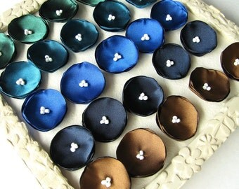 Satin fabric mini flower appliques, tiny poppies (25pcs)- SHADES OF PEACOCK (Forest Green, Teal Blue, Royal Blue, Navy Blue, Mocha Brown)