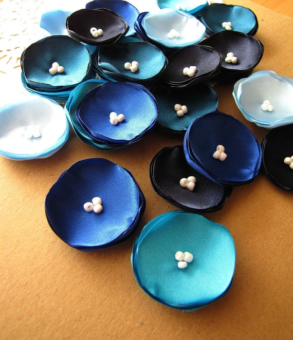 Satin fabric sew on mini flower appliques, tiny silk peacock flowers (25pcs)- SHADES OF BLUE (Baby Blue, Turquoise, Teal, Royal Blue, Navy)