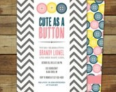 cute as a button baby shower invitation, baby girl, matching back side