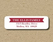 Custom return address labels, self-adhesive -  banner - in ANY color