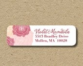 Roses return address labels, return address stickers with pink roses, self-adhesive address labels