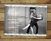 bliss wedding shower invitation, bridal shower, lace, photo card