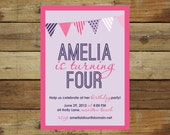 pink and purple birthday party invitation with photo - pennant banner