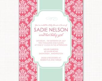 baby girl shower invitation, garden damask baby shower, baby girl shower