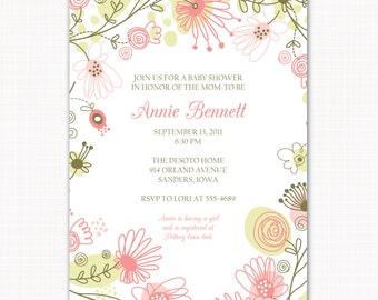baby girl shower invitation . . . meadow