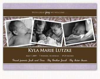 birth announcement for your baby girl - purple & brown damask