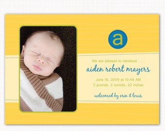 baby boy birth announcement or thank you note, monogrammed