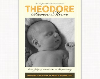 baby boy birth announcement or thank you note, yellow lights