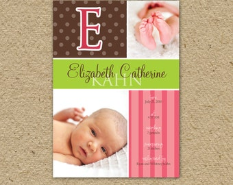 baby girl birth announcement in pink and brown, modern -  twist