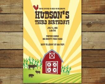 Farm birthday party invitation, Vintage barnyard, vintage barn farm themed birthday, printable farm birthday, printable invitation
