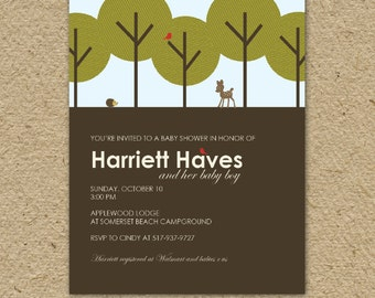baby shower invitation, forest baby shower, modern woodland forest baby shower theme, printable invitation
