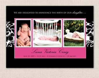 black and pink baby girl birth announcement, pink and black damask, printable baby announcement