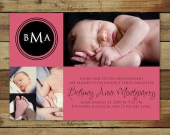 modern baby girl birth announcement - with monogram