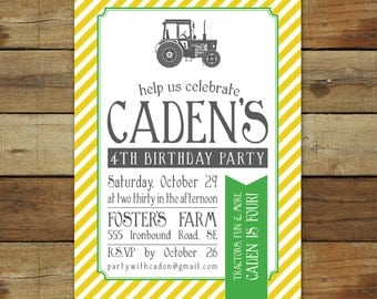 Vintage tractor birthday invitation for a tractor birthday party - custom tractor theme