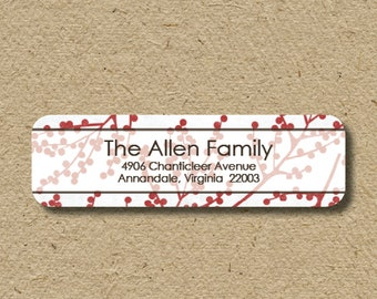 Custom return address labels, self-adhesive - red berries