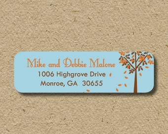 Return address stickers, self-adhesive - thanksgiving leaves