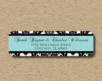 Damask return address labels, self-adhesive custom address stickers, personalized labels
