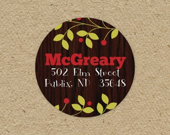 Custom return address labels, round - holly berries and wood grain