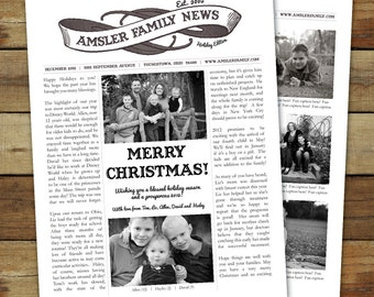 custom family christmas newsletter, personalized and printable