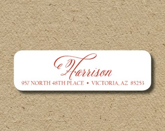 Script return address stickers, self-adhesive stickers with script last name, customized in any colors
