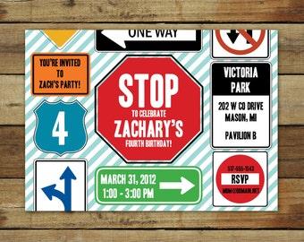 street sign birthday invitation, transportation birthday party, stop sign birthday printable