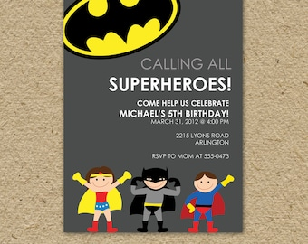Batman birthday invitation, batman birthday party, super hero birthday party invitation - superman or batman