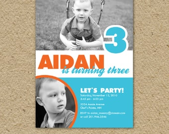 birthday party invitation for a boy or girl, custom photo - let's party