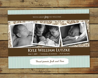 Baby boy birth announcement in blue and brown stripes & damask