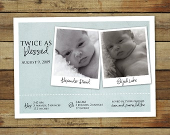 twin boys or twin girls birth announcement - doubly blessed