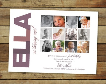 first birthday party invitation and collage in any color combination