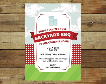 Modern picnic or BBQ invitation, fourth of july, mason jars, printable invitation