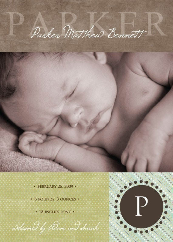 A beautiful green, brown and blue custom photo birth announcement, completely customizable