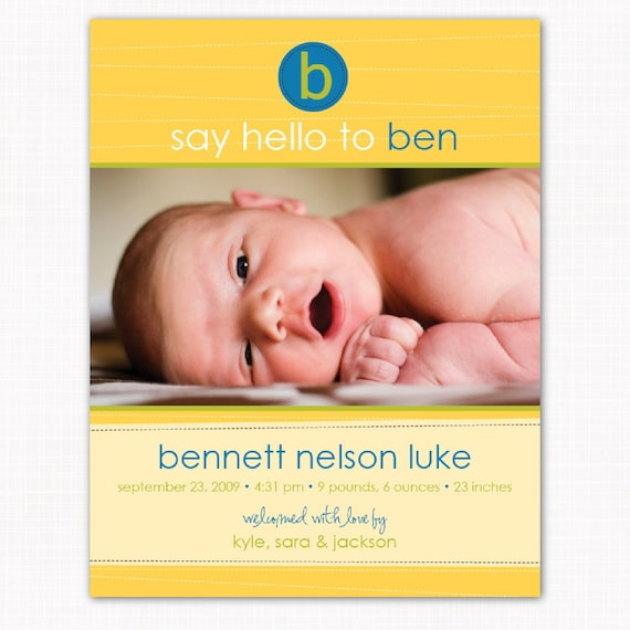photo birth announcement card - customized perfectly for your baby boy  - say Hello