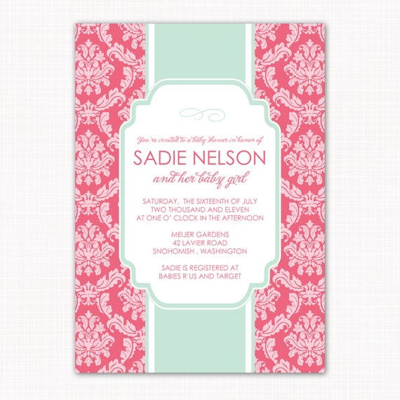 baby girl shower invitation, garden damask baby shower, baby girl shower