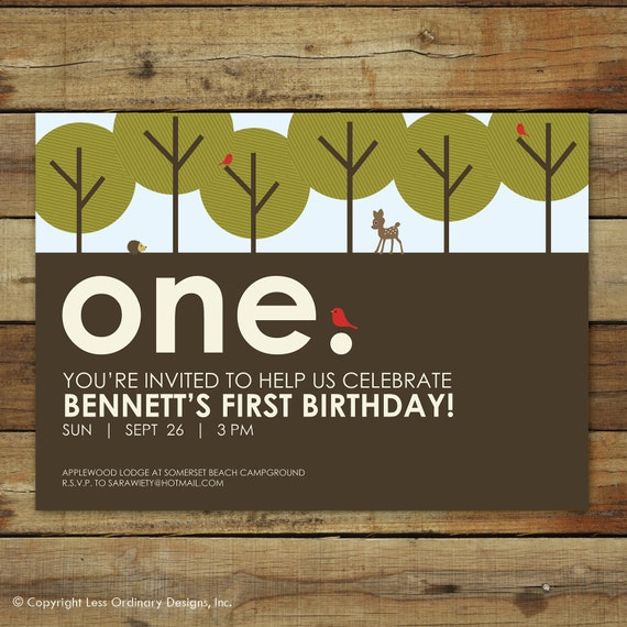 Forest First Birthday Party Invitation Woodland Forest Party