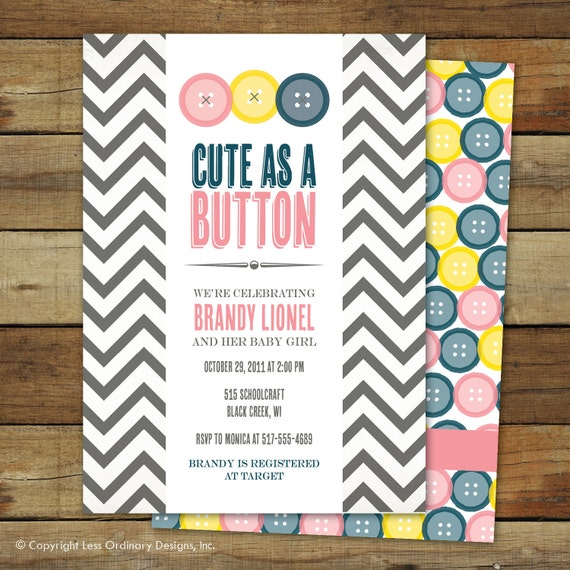 items similar to cute as a button baby shower invitation baby girl