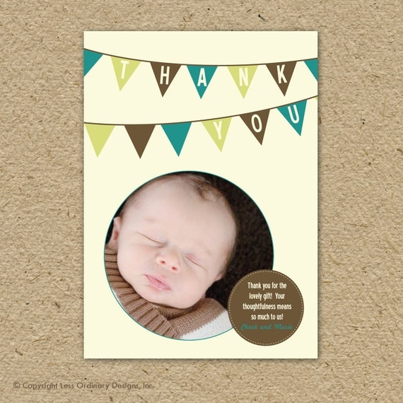 Custom photo thank you card - completely customizable, with or without photo