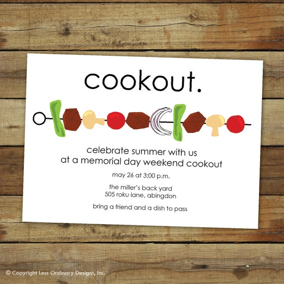BBQ invitation, cookout invitation, shish kabob party invitation, fourth of july, memorial day or labor day, printable or printed cards