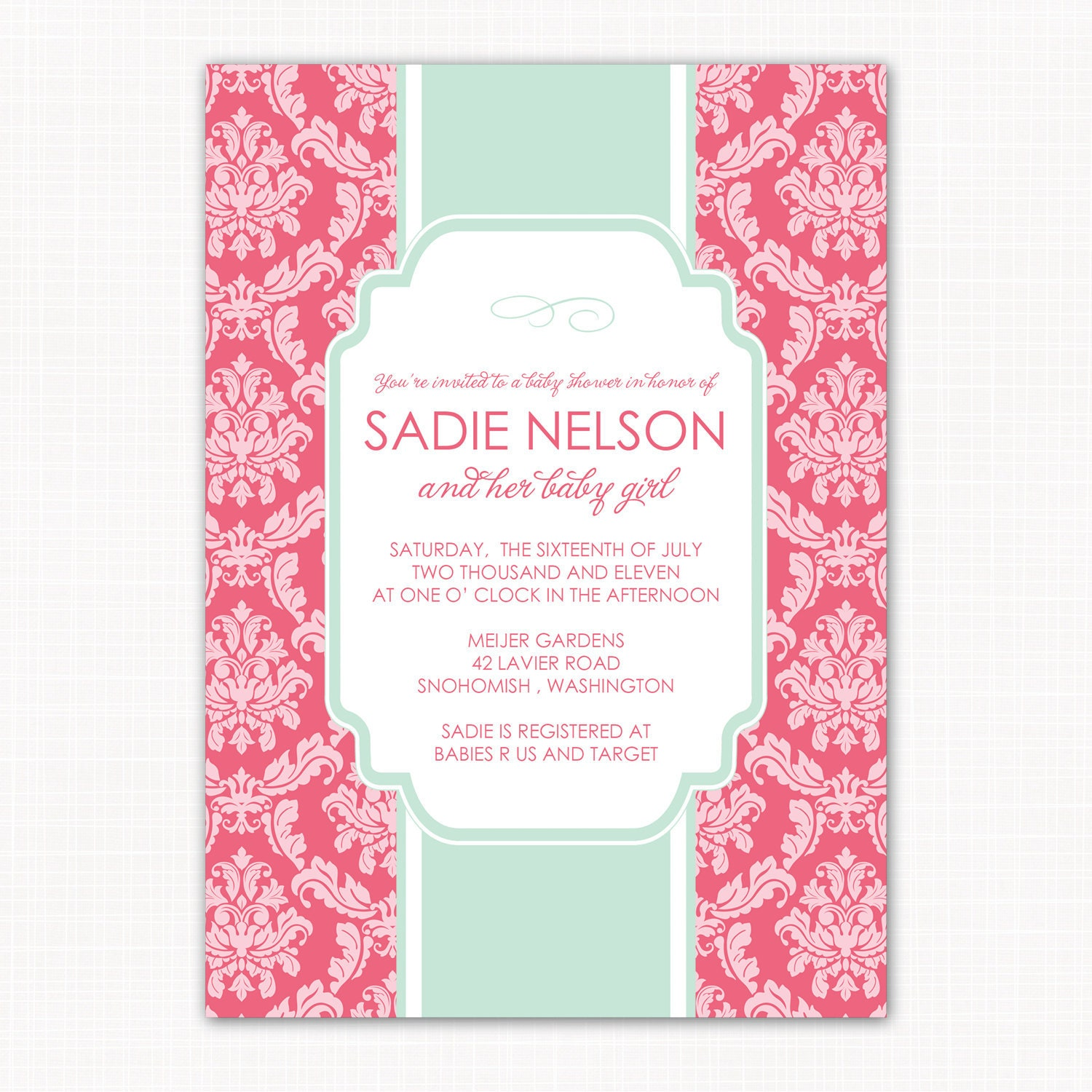 Baby Girl Shower Invitation Garden Damask Baby Shower Baby