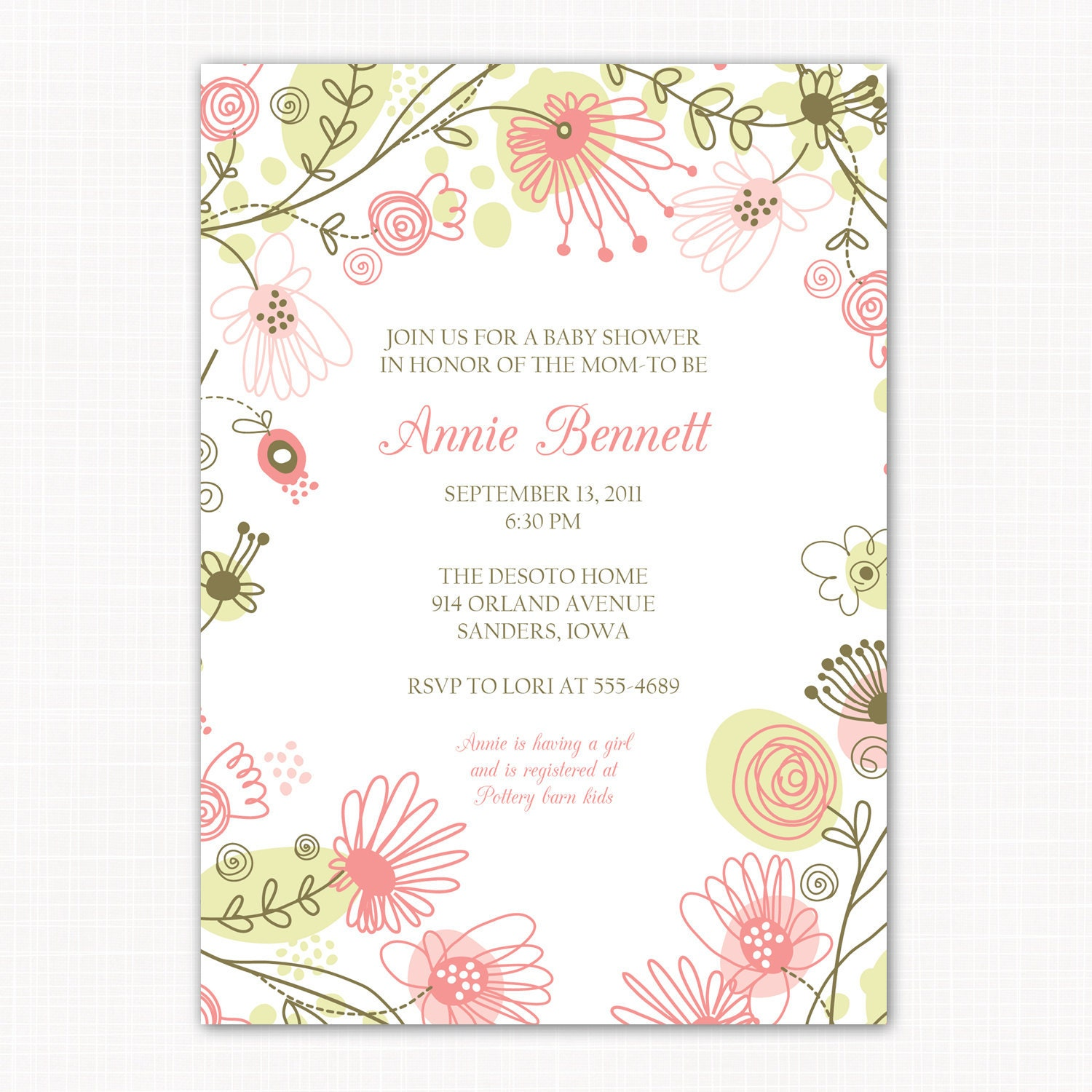 baby girl shower invitation floral meadow printable baby