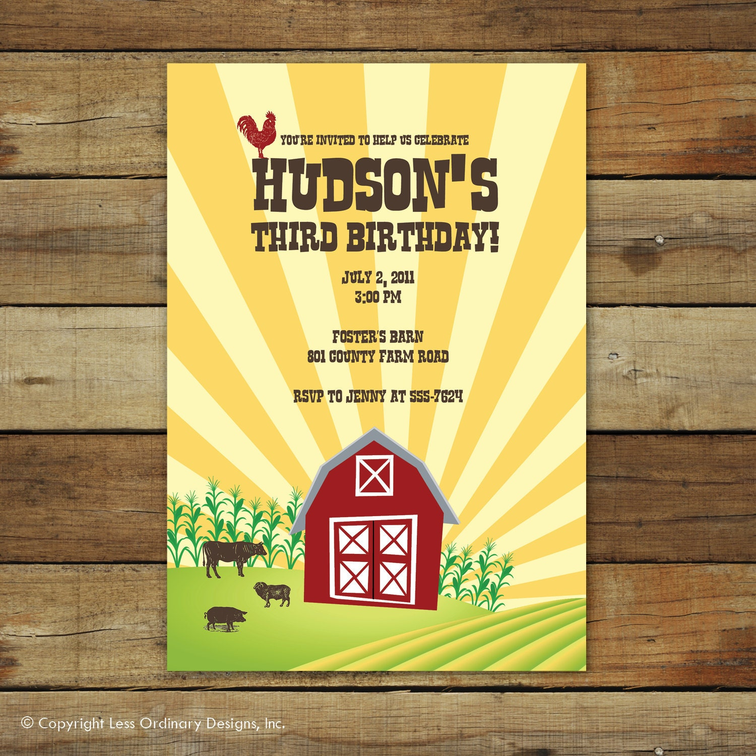 Farm birthday party invitation Vintage barnyard vintage barn – Farm Party Invitations