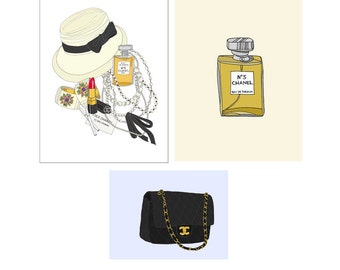 Chanel Lover Fashion Illustration Art Poster Set