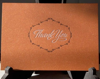 Bronze and silver letterpress thank you notecards, set of 4