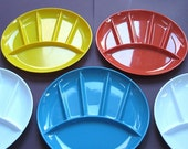 1970s Vintage Divided Snack Plates - Colorful Plastic