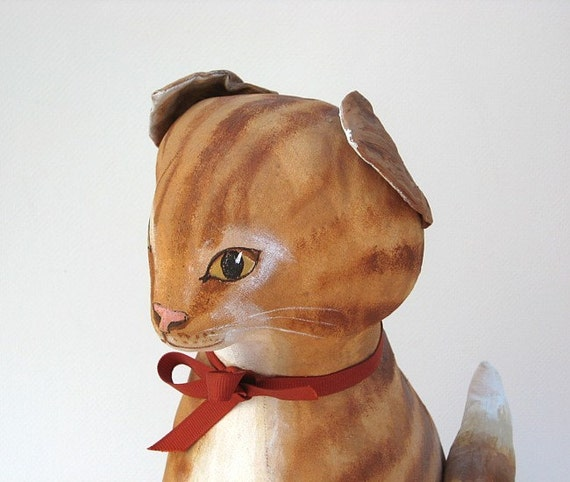 Cat Soft Sculpture - Vintage Hand Painted Orange Tabby